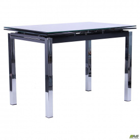 Стол обеденный раскладной Глория хром/Стекло черный с узором