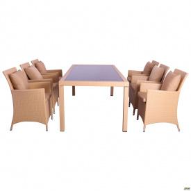 Комплект мебели Samana-6 из ротанга Elit (SC-8849) Sand AM3041 ткань A14203
