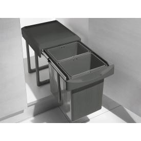 Ведро 2х75 л выдвижное для мусора INOXA ардезия