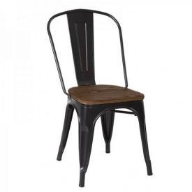 Стул штабелируемый SDM Толикс металл глянцевый сиденье коричневое Черный (hub_TDTu87213)