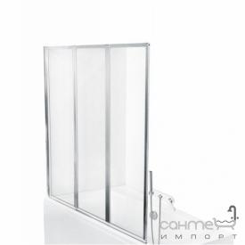 Шторка для ванны Besco PMD Piramida Ambition premium -3 130х140 профиль хром стекло прозрачное