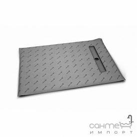 Прямоугольная душевая плита с линейным трапом вдоль короткой стороны Radaway 5DLB1208B с решёткой 5R055B Basic (плитка 5-7 мм)