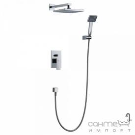 Душевая стойка скрытого монтажа со смес-м для ванны и верх. душем Blue Water Toronto TOR-ZKP 150C + BW KW 20 ULTRA SLIM хром