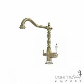 Комбинированный кухонный смеситель Fabiano FKM-31.4 Brass-Antique Латунь