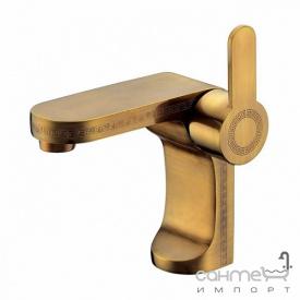 Змішувач для раковини з донним клапаном Blue Water Gala GAL-BUN 010-ORN старе золото з орн.