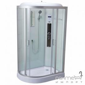 Правосторонний гидромассажный бокс Dusel DSC-DU515-120SR профиль сатин, прозрачное стекло, задние стенки белые