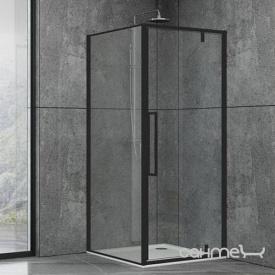 Душевая кабина Dusel DL198B+DL196B Black Matt 100x100x190 профиль черный/стекло прозрачное