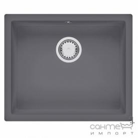 Гранитная кухонная мойка Fabiano Quadro 55x46 Titanium серая