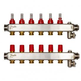Коллектор Danfoss SSM-F на 6 контуров с ротаметрами (088U0756)
