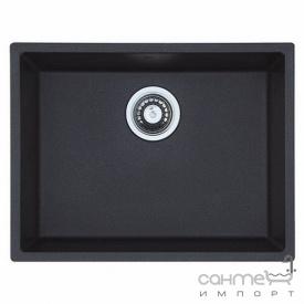 Гранитная кухонная мойка под столешницу Fabiano Quadro 55x46 Antracit черная