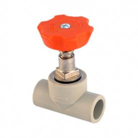 Вентиль PP-R 20 мм сірий
