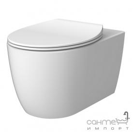 Подвесной безободковый унитаз с сидением slim softclose Devit Acqua 3020155W белый матовый