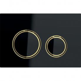 Клавиша смыва Geberit Sigma21 для двойного смыва цвет металлический латунь и черное стекло 115.652.SJ.1