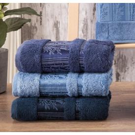 Набор махровых полотенец Zeron Бамбук 50х90 (3шт) Синий (1005875)