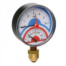 Термоманометр радиальный Icma 258 1/2 с запорным клапаном
