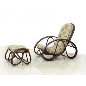 Кресло с Пуфом CRUZO Set Натуральный ротанг Ореховый (kr00007)