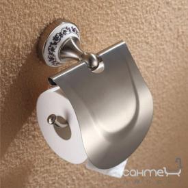 Держатель туалетной бумаги с крышкой Kraus Apollo KEA-16526 BN сатин