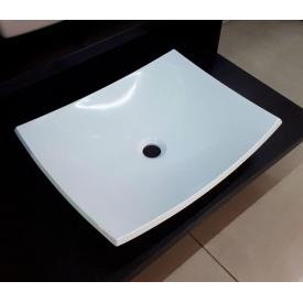Умывальник накладной из литого мрамора Fancy Marble Natura 500 Белый глянцевый