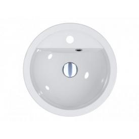 Умывальник круглый из литого мрамора врезной Miraggio Madison 430 Белый глянцевый 0001053