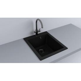 Кухонная мойка из гранита прямоугольная Fancy Marble Jersey 410 Черная