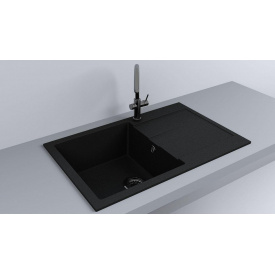 Кухонная мойка из гранита прямоугольная Fancy Marble Connecticut Черная