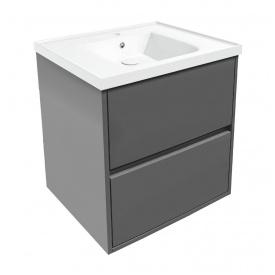 Тумба подвесная с умывальником для ванной комнаты Volle Teo 65 см Серый 15-88-61G