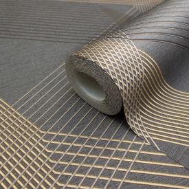 Чорні шпалери для залу і спальні геометрія гарячого тиснення LS Грані ТФШ 6-1431 1,06х10,05 м