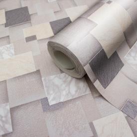 Коричневі шпалери 3d геометрія миючі вінілові на паперовій основі LS Ефект МНК4-0862 0,53х10.05 м
