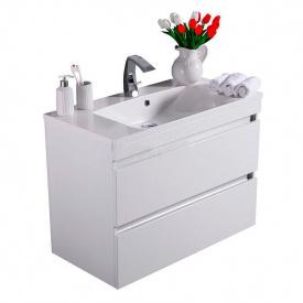 Тумба для ванной комнаты Fancy Marble Borneo 900 с раковиной Amelia 900 Белая