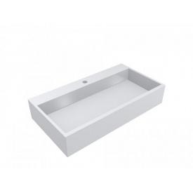 Умывальник из литого мрамора накладной Miraggio Mares 800 Белый глянцевый 0000215