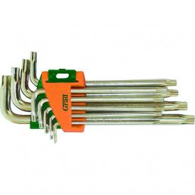 Ключи Torx 9шт T10-T50мм CrV короткие с отвер Grad (4022275)