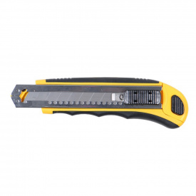 Нож строительный (пластик/резина корпус) лезвие 8 шт 18 мм автоматический замок Sigma (8211121)