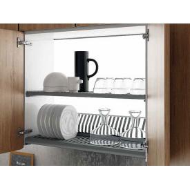 Посудосушитель фасад 600 с алюминиевой рамкой Inoxa Ikona/Helios 730 ардезия 2 полки поддон пластик