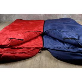 Туристический спальный мешок нейлон 220х142 см красный с капюшоном