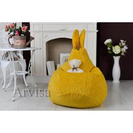 Детское кресло груша 90х60 заец с ушами желтое