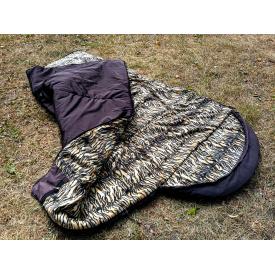 Армейский спальный мешок Arvisa флис меховой 220х84 см коричневый с капюшоном