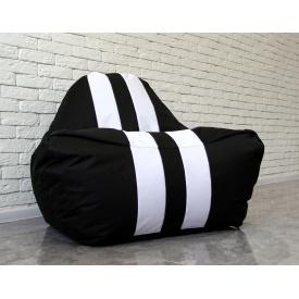 Бескаркасное кресло мешок диван пуфик XL Ferrari черно-белое