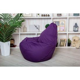 Бескаркасное кресло мешок груша пуфик фиолетовый XL 120х75