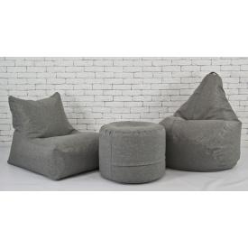 Набор мягкой бескаркасной мебели кресло мешок+груша+пуф рогожка серый
