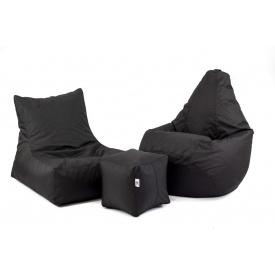 Набор мягкой мебели кресло груша+диван+пуфик XL черный