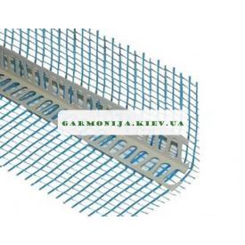 Угол перфорированный пластиковый с сеткой зеленой синей 125 пл 2,5 м