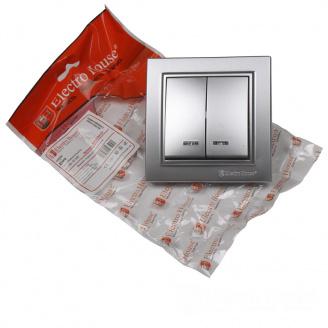 ElectroHouse Выключатель с подсветкой двойной Серебряный камень Enzo IP22