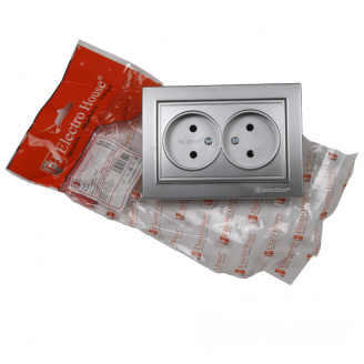 ElectroHouse Розетка двойная без заземления Серебряный камень Enzo 16A IP22