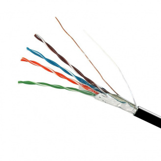 ElectroHouse Кабель FTP 4х2х0,51 CCA черный (наружный монтаж со стальной проволокой)