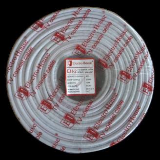 ElectroHouse Телевізійний коаксіальний кабель RG-6U CCS 1,02 Cu білий ПВХ
