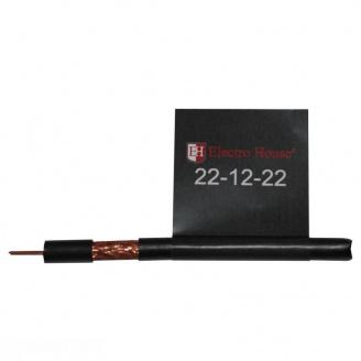 ElectroHouse Телевизионный (коаксиальный) кабель RG-6U CCS 1,02 Cu черный ПЭ