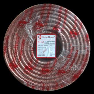 ElectroHouse Телевізійний коаксіальний кабель RG-6U CCS 1,02 Cu прозорий Силікон