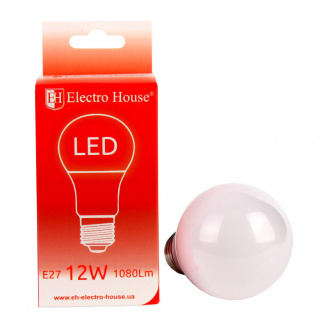 Светодиодная лампа ElectroHouse E27 12W A60 4100K 1080Lm