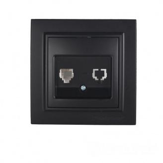 ElectroHouse Розетка телефонная Безупречный графит Enzo IP22