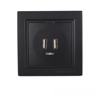 ElectroHouse Розетка USB (2 порта) Безупречный графит Enzo 2A IP22